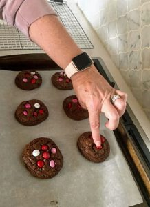 Double Chocolate Chip Cookies Pressing M&M's