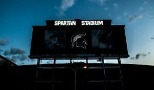 Sunrise over the new Spartan Stadium scoreboard.