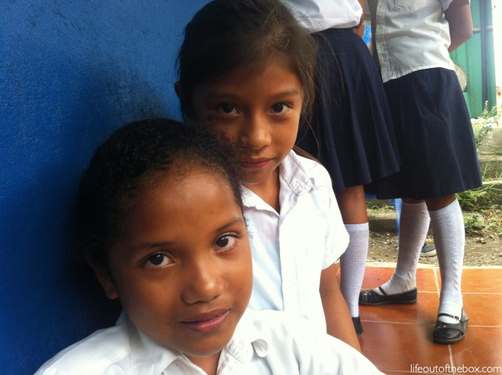 Reading Spanish with the girls at school in Nicaragua