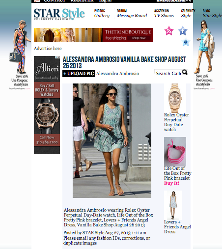 Life Out of the Box Pretty Pink bracelet on Alessandra Ambrosio in Star Style