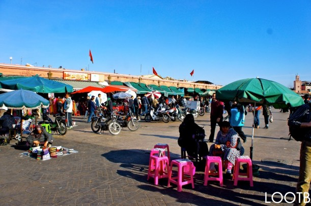 Life Out of the Box in Marrakech, Morocco. The medina square Jemaa el-Fnaa