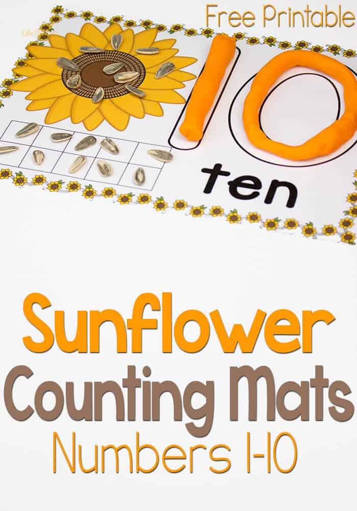 Free Sunflower Play Dough Counting Mats: Numbers 1-10
