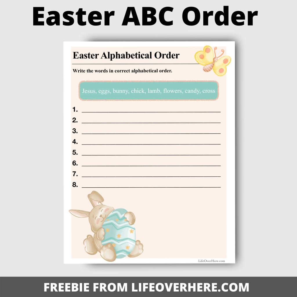 Easter ABC Order Worksheet