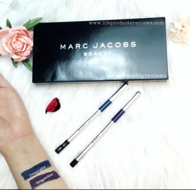 Swatches Marc Jacobs beauty highliner eyeliner shade smudgeproof gel pencil
