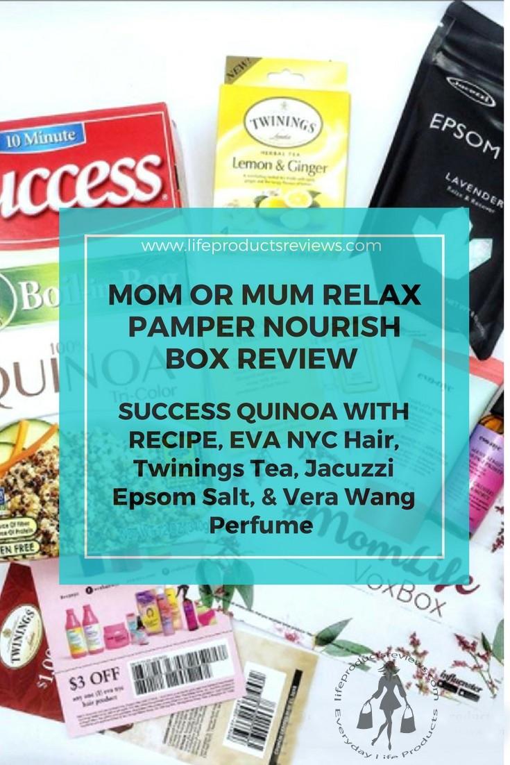 Best-Mom-mum-box-voxbox-influenster-success-quinoa-with-recipe-eva-nyc-hair-twinnings-tea-jacuzzi-epsom-salt-vera-wang-perfume