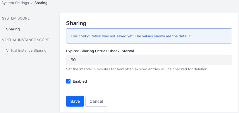 Figure 1: Configure sharing globally.
