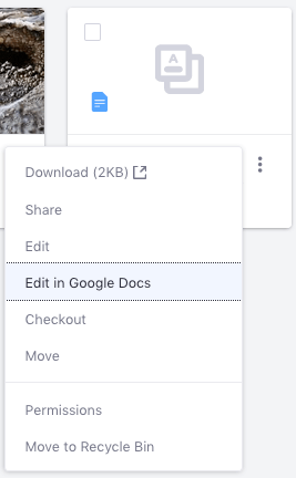 Figure 2: You can also use Googles document editor to edit existing Documents and Media files.