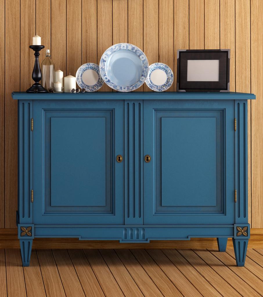 blue painted dresser