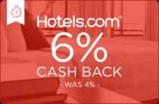 Hotels.com 6% Cash Back - Was 4% -