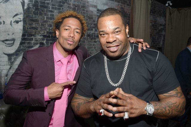 "Nick Cannon (L) and musician Busta Rhymes attends the ""King of the Dancehall"" premiere screening party"