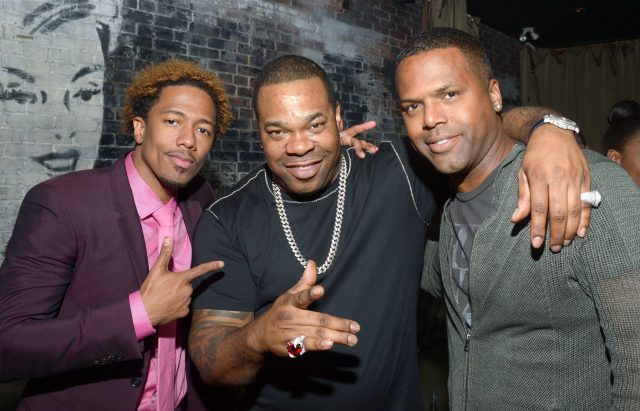 """TORONTO, ON - SEPTEMBER 11:  (L-R) Director/Actor/Producer Nick Cannon, musician Busta Rhymes,TV personality AJ Calloway attend the """"King of the Dancehall"""" premiere screening party presented by Ciroc during the 2016 Toronto International Film Festival at EFS Lounge on September 11, 2016 in Toronto, Canada.  (Photo by Matt Winkelmeyer/Getty Images for Brilliant Consulting )"""