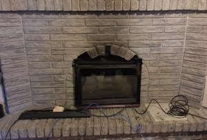 gas to electric fireplace remodel