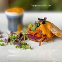 Root Veggie Sliders With Microgreens and Smokey Sweet Potato Sauce