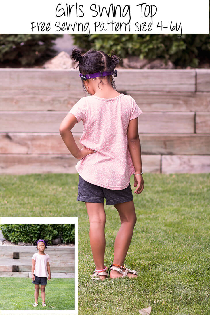 free sewing pattern for girls swing top sizes 4-16Y from Life Sew Savory