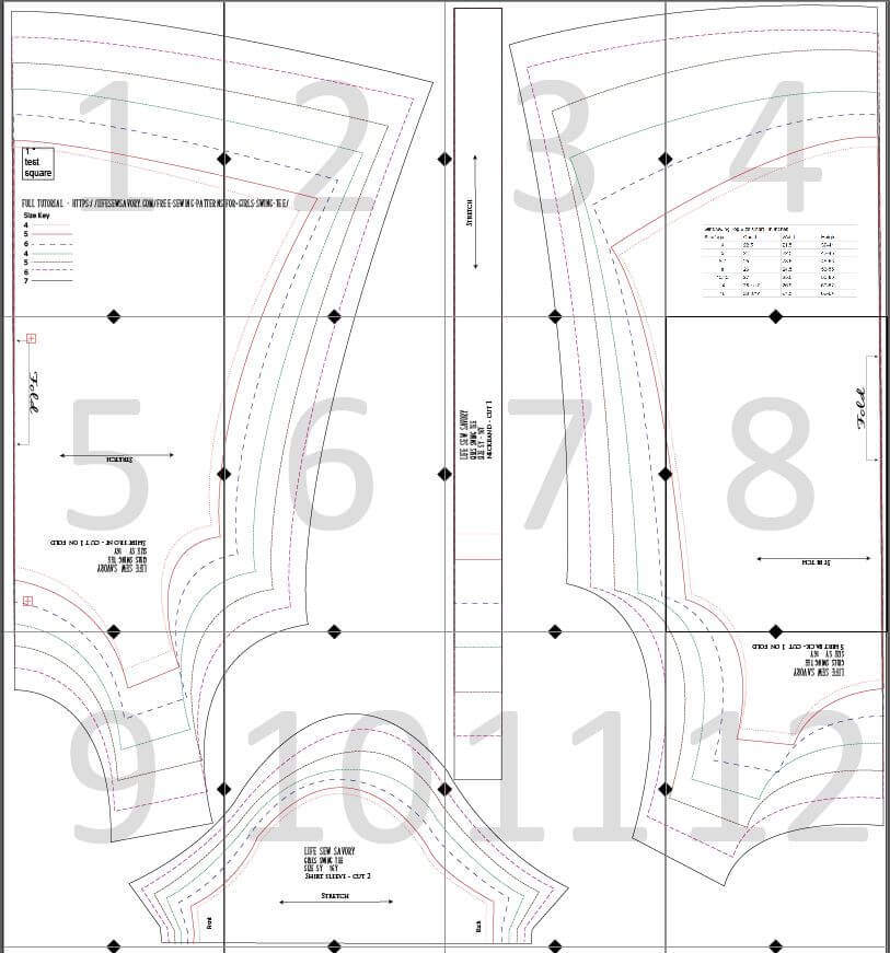 girls swing tee layout guide