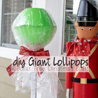 DIY Giant Lollipops - Dollar Tree Christmas Craft
