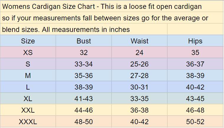womens cardigan sewing pattern size chart