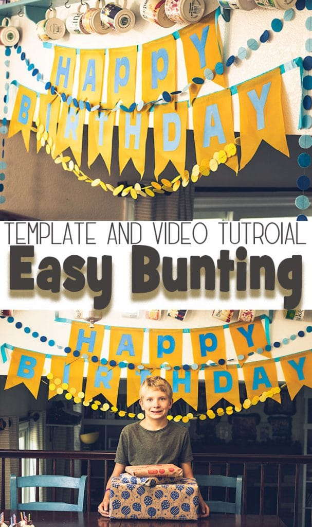 Easy birthday bunting template for birthdays video from Life Sew Savory