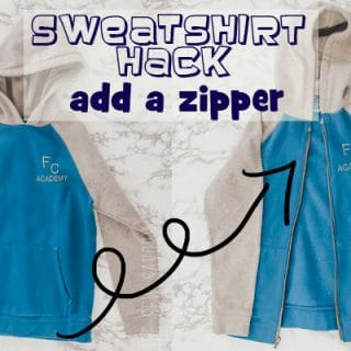 Add a zipper to a sweatshirt