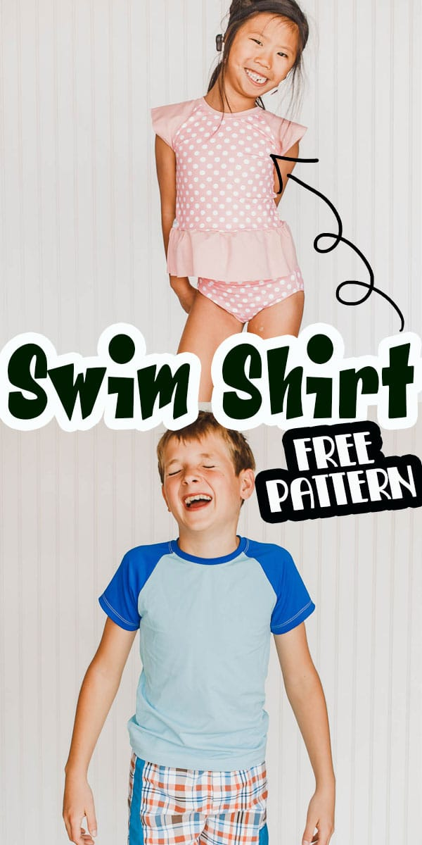 learn how to sew a rash guard for summer swim with this free pattern and sewing tutorial. Use a free raglan pattern and a few sewing edits to make adorable swim shirts for summer water play.