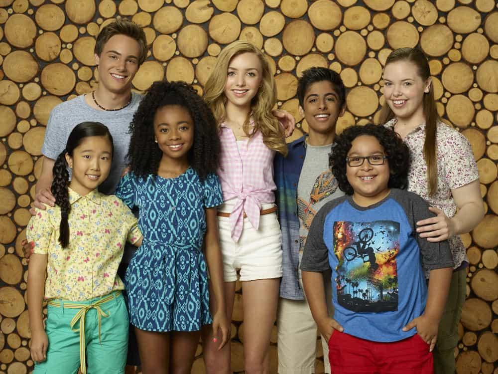 "BUNK'D - Disney Channel's ""Bunk'd"" stars Nina Lu as Tiffany, Kevin G. Quinn as Xander, Skai Jackson as Zuri, Peyton List as Emma, Karan Brar as Ravi, Nathan Arenas as Jorge and Miranda May as Lou. (Disney Channel/Bob D'Amico)"