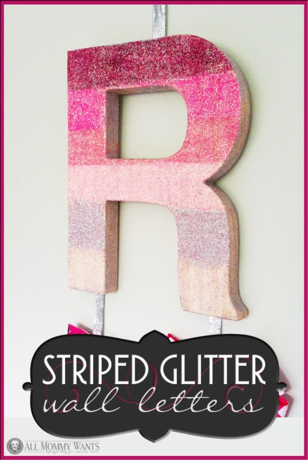 Striped Glitter Wall Letter