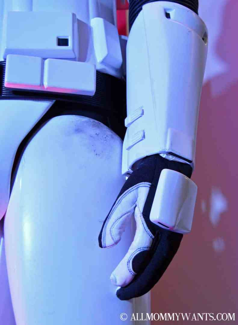 Close up of the abrasion on a Stormtrooper costume from use in the film