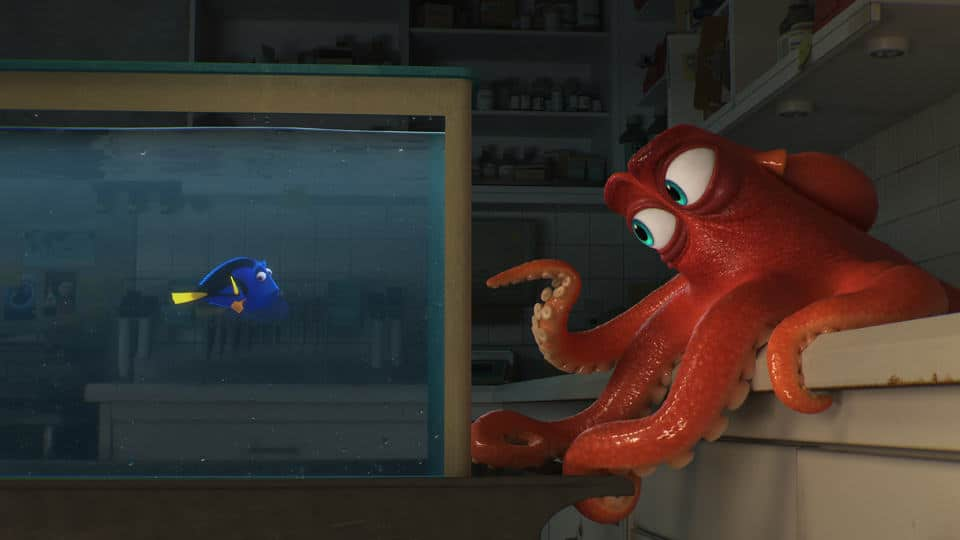 "DO I KNOW YOU? -- In Disney/Pixar's ""Finding Dory,"" everyone's favorite forgetful blue tang, Dory (voice of Ellen DeGeneres), encounters an array of new and old acquaintances, including a cantankerous octopus named Hank (voice of Ed O'Neill). Directed by Andrew Stanton and produced by Lindsey Collins, ?Finding Dory? swims into theaters June 17, 2016."