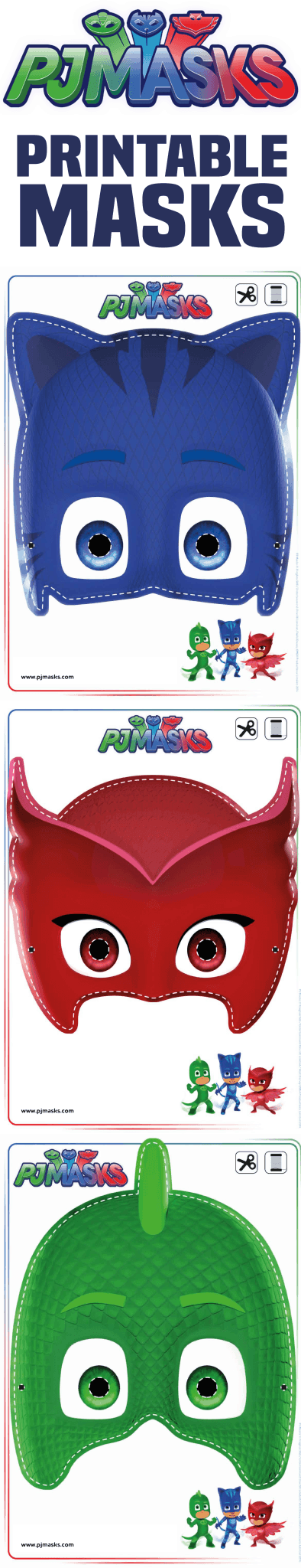 graphic about Pj Masks Printable Images named Printables - PJ Masks Owlette, Gekko, Catboy Masks Existence