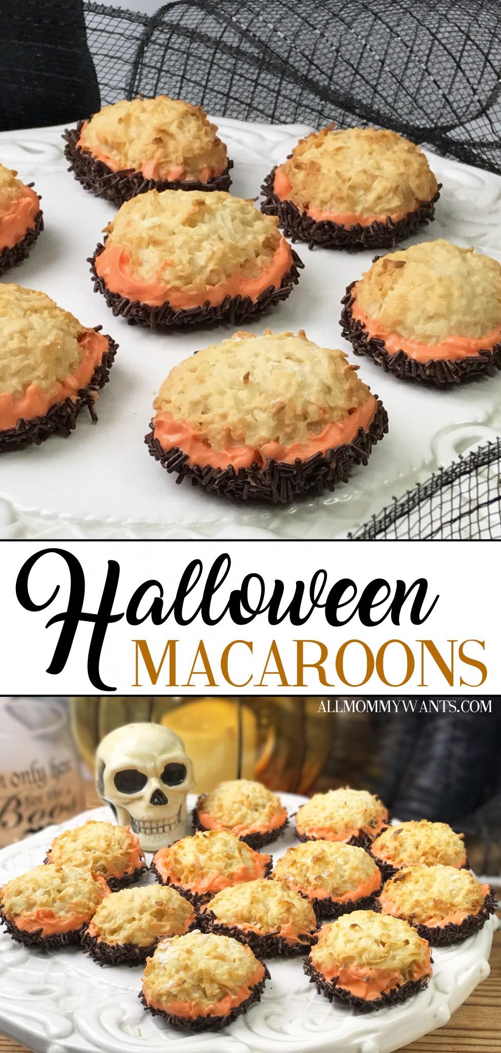 These Halloween macaroons are INCREDIBLY easy to make! Coconut, sprinkles, and chocolate make the perfect combo...