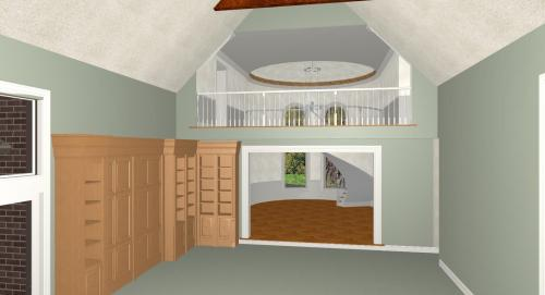 Great room and front hallway - 3D Rendering by CastleView3D.com