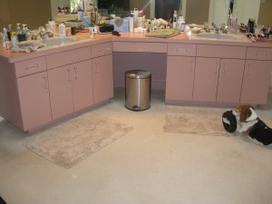 1980s Mauve Laminate Bathroom