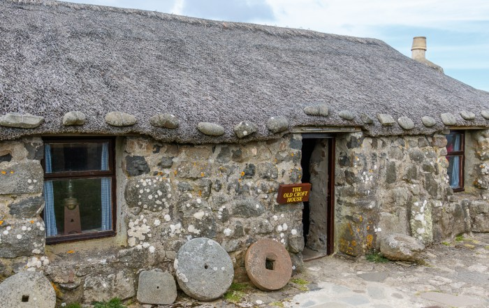 This incredible 19th century crofting village museum shows how crofters lived on the Isle of Skye 100 years ago. It is situated in an ideal location and has sweeping views of the ocean below. A croft is a small area of enclosed land used for farming purposes and is unique to northern Islands, Highlands and Hebrides of Scotland. Photo Credit: Wendy Nordvik-Carr © View more photos wendynordvikcarr.com