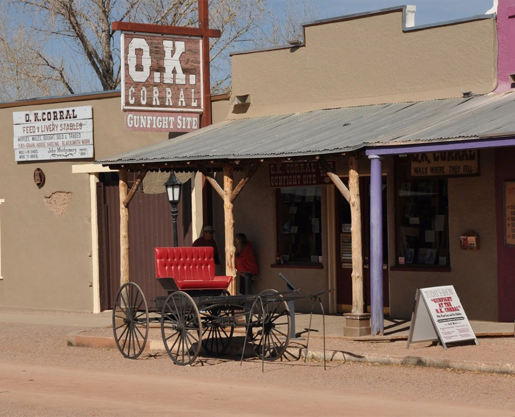 The famous O.K. Corral Gunfight site located in Tombstone Arizona. Photo Courtesy of the Tombstone Chamber of Commerce.