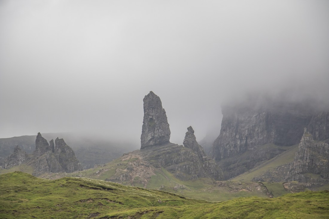Old Man of Storr is one of the most popular destination on the Isle of Skye because of its incredible landscape on the Trotternish Ridge. Visit the top things to do - Sky Museum of Island Life, The Storr, Quiraing, Cuillin and the Fairy Pools in the northwest coast of Scotland. Photo Credit: Wendy Nordvik-Carr©