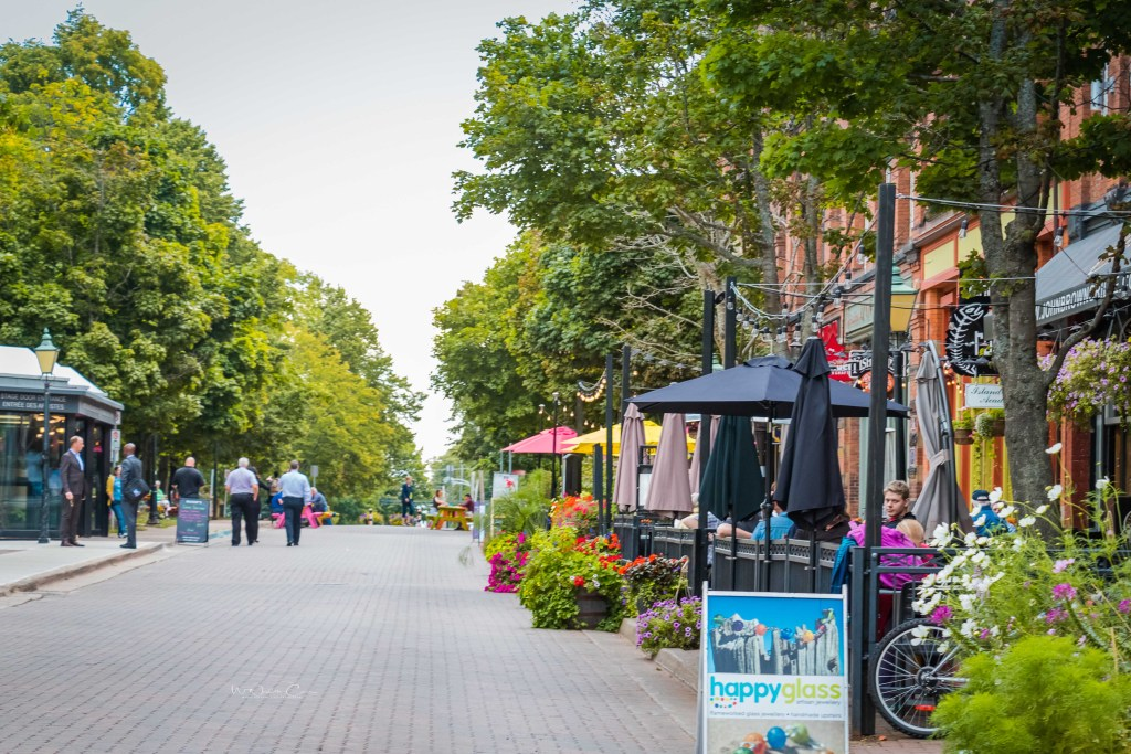Charlottetown's Victoria Row is a charming area of historic buildings with lots of galleries, shops and restaurants. The cobblestoned street is for pedestrians only in the summer months. This area is found between Great George and Queen Streets on Richmond. Photo Credit: Wendy Nordvik-Carr