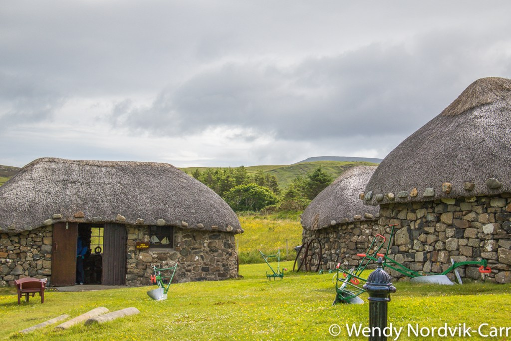 Life on the Isle of Skye Scotland is demonstrated at the 19th-century Highland crofting village of the Isle of Skye Museum of Island Life.