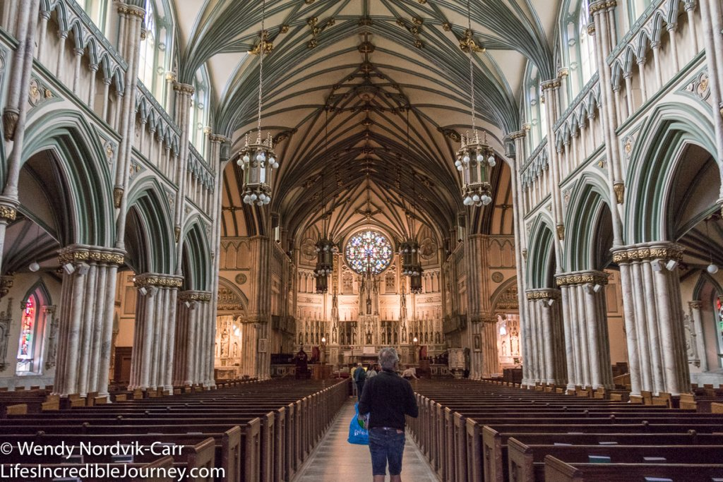 The Roman Catholic church, St. Dunstan's Basilica style of architecture is High Victorian Gothic Revival. The church is located centrally on Great George Street across the street from many impressive heritage buildings. Photo Credit: Wendy Nordvik-Carr