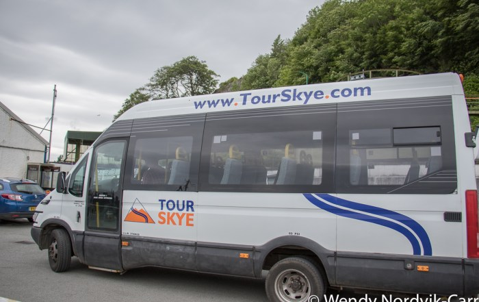 The Scottish town of Portree is a port of call for many cruise ships and a great place to start your discovery of the rugged countryside of Isle of Skye. This is the Tour Skye bus we took for the Isle of Skye Tou.r Photo Credit Wendy Nordvik-Carr