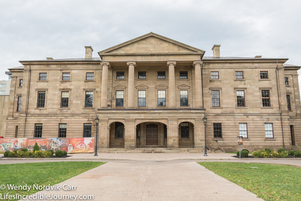 Province House National Historic Site is the birthplace of Confederation and the since 1847 the seat of PEI provincial legislature The building's architecture is neoclassical in design. There are many interpretive panels around the grounds depicting the history. Photo Credit: Wendy Nordvik-Carr©