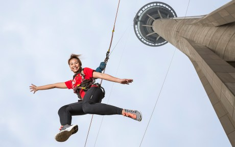 Experience the Sky Jump from the Macau Tower, China. Photo courtesy: AJ Hackett Bungy / Macau Tower