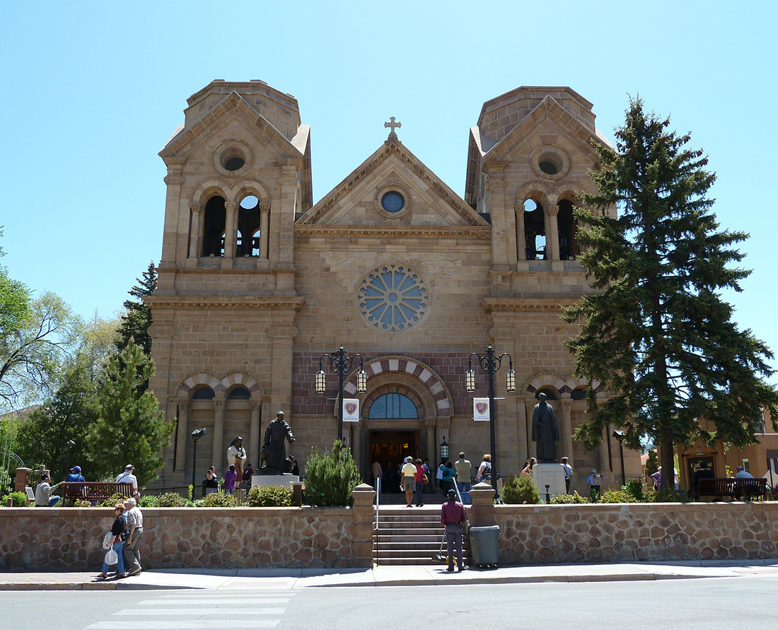 The Cathedral Basilica St. Francis of Assisi in Santa Fe, New Mexico. The Roman Catholic Church is an example of Romanesque Revival architecture. Photo: Wendy Nordvik-Carr©