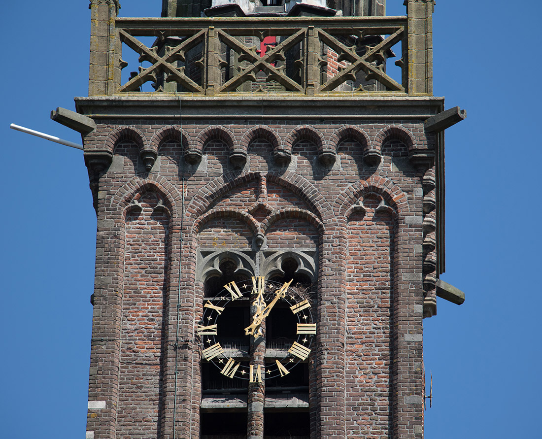 The historic 16th century leaning tower and bells and clock of The Great Church, Our Dear Lady Edam, North. This is possibly the oldest clockworks in the Netherlands. Photo Credit: Wendy Nordvik-Carr©
