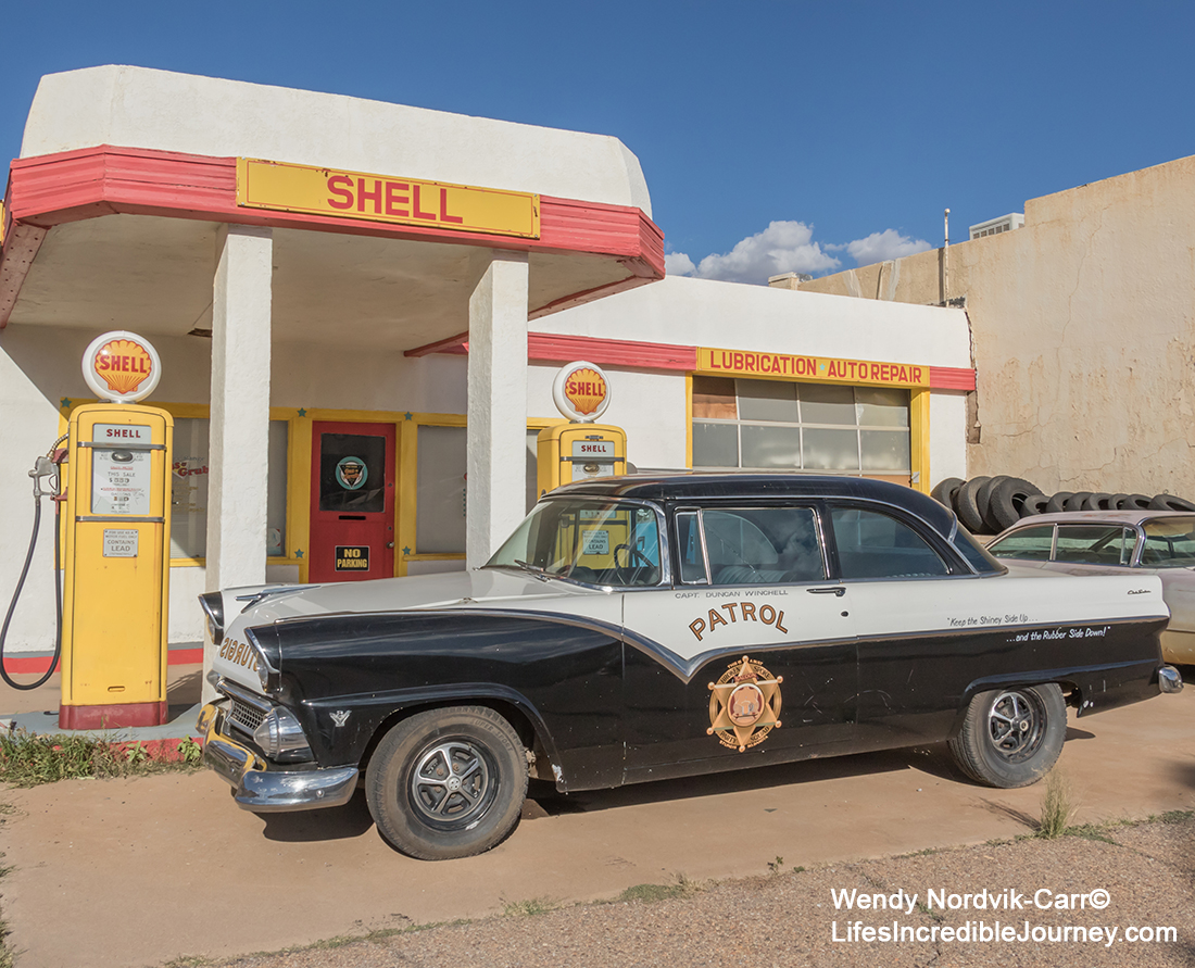 Best route to take from Tucson, Arizona to Santa Fe, New Mexico. Stop to explore Lowell and the vintage 1950s cars and motorcycles. Photo Credit: Wendy Nordvik-Carr©