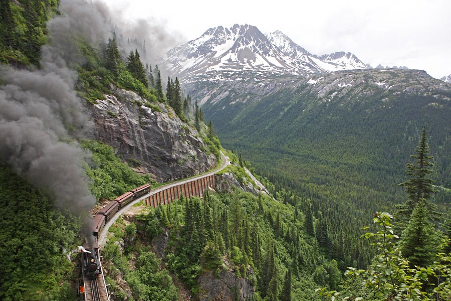 One of the most scenic rail trips in the world. Photo Courtesy of White Pass and Yukon Route https://wpyr.com.