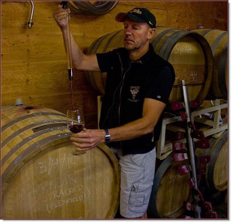 In the barrel room of Mt. Lehman Winery