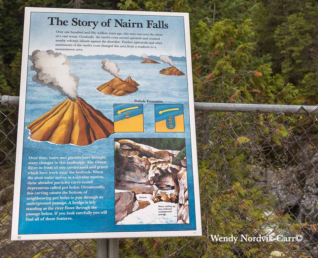 The history of the geological changes at Nairn Falls Provincial Park near Whistler and Pemberton