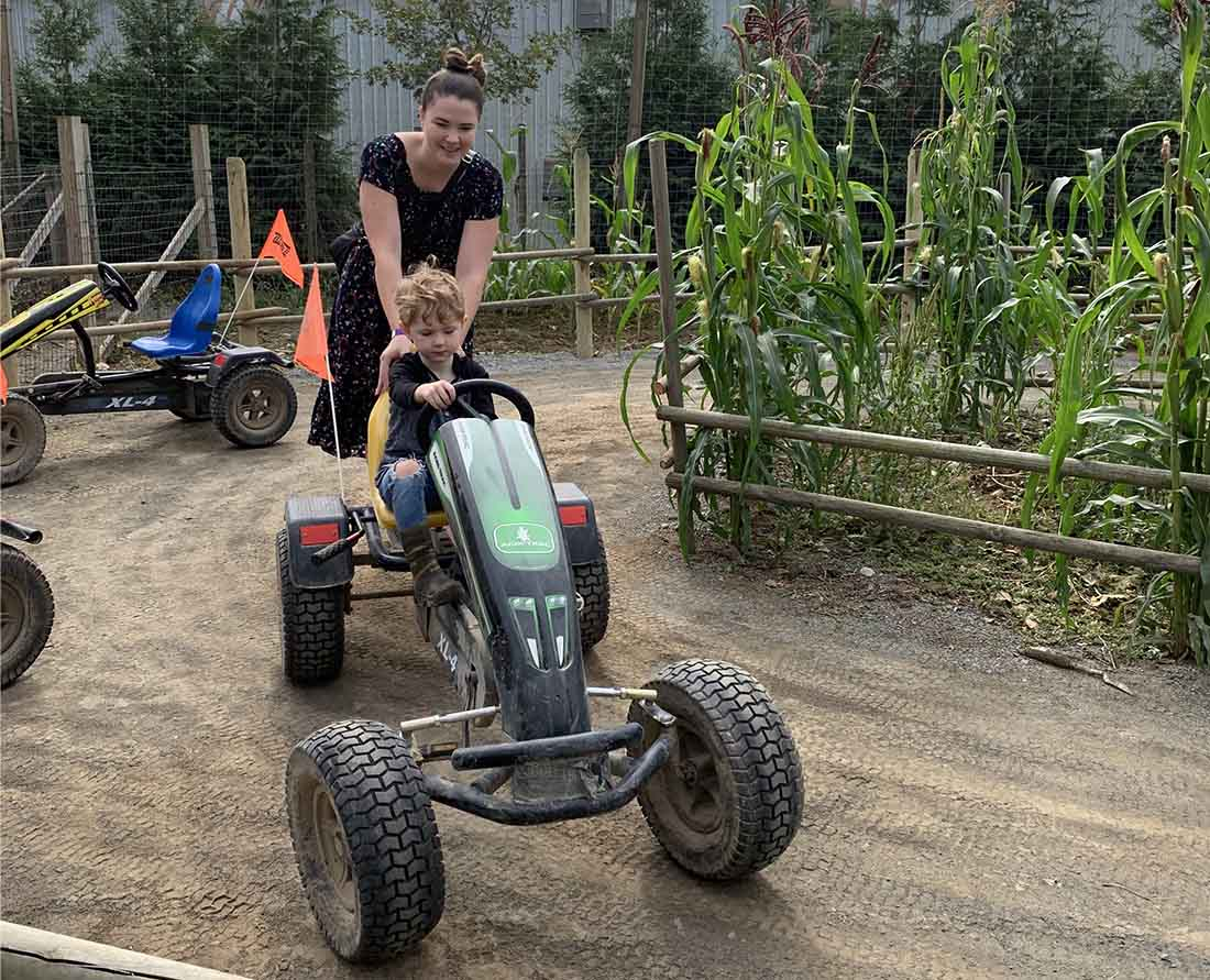 Ride a pedal Kart. Fun fall activities on a visit to Taves Family Farms Applebarn