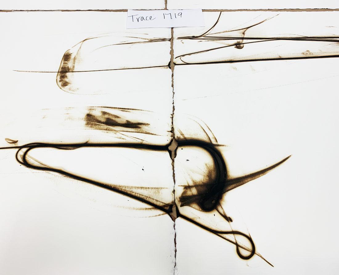 Seattle glass artist Etsuko Ichikawa creates her signature pyrograph paintings with molten glass Trace 1719