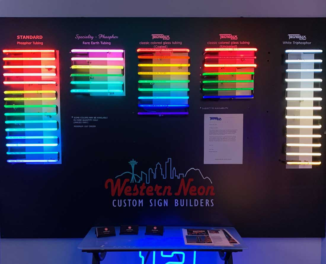 Western Neon glass art tubing display of colors available in Seattle.